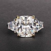 Cluster Rings 10*12 Zircon 11 Karat S925 Sterling Silver Ring Wedding Engagement Bride Luxury Jewelry