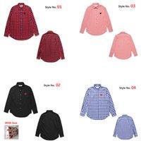 Camicie casual da uomo di alta qualità con pattern di amore Coppia ricamo a strisce camicette per uomo e donne dello stesso stile CJ0101