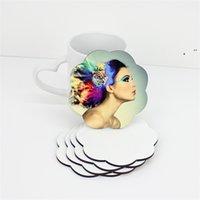 DIY التسامي فارغة كوستر خشبي كوب كوب منصات MDF ترقية الحب جولة زهرة شكل كأس حصيرة NHB7508