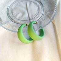 Hoop & Huggie 2021 Candy Color C-shape Ring Earrings Retro Exaggerated Wide Face Niche Design Stud