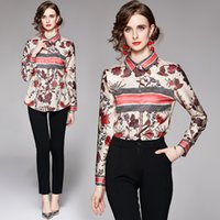 Boutique Shirt Womens Blouse 2021 Autumn New OL Printed Shirt High-end Elegant Lady Floral Shirt Office Business Blouse