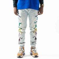 2021 Mens Designer Jeans Distressed Ripped Biker Slim Fit Motorcycle Denim For Men Top Quality Fashion jean Mans Pants pour hommes #03