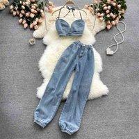 2 Zweiteilige Set Frauen Trainingsanzug Sets Sexy Sommer Fliege Denim BH Crop Tops + Hohe Taille Cargo Jeans Hosenanzüge Outfits 210530