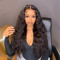 Wet Wavy Lace Wig Deep Wave Wig Black Female Curly Human Hair Wig Pre-picked Baby