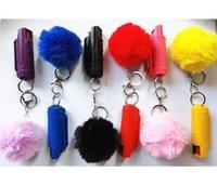 2 stücke Verteidigung Schlüsselanhänger Set lncluding 20ml Spray Pompom Keychain 8cm Kaninchen Pelz Kugel Schlüsselanhänger Für Frau Männer Selbstverteidigung Schlüsselanhänger