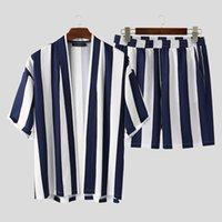 Incerun verano hombres rayas streetwear suelta costura abierta camisa de manga corta pantalones cortos de moda playa transpirable casual conjuntos