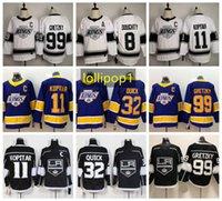 Reverse Retro 로스 앤젤레스킹스하키 유니폼 8 Drew Doughty 11 Anze Kopitar 32 Jonathan 빠른 99 Wayne Gretzky 77 Jeff Carter 화이트 블랙 남성 보라색 423