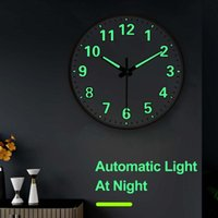 Wall Clocks 12inch 30cm Clock Luminous Quiet Dark Glowing Modern Watches Home Decor Christmas Night Light