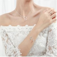 jewelry S925 sterling silver jewlery sets for women lovely cats necklace bracelets hot fahison free of shipping