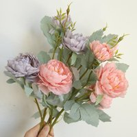 Festa Decoração Multicolor Artificial Plástico Falso Peônia Planta Flores De Seda Vaso Para DIY Home Garden Wedding Plants
