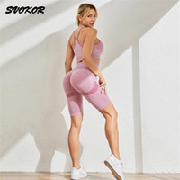 SVOKOR 2Pcs Sport For Women Suit Workout Gym Set Seamless Shorts Yoga Fitness Running Clothing Sexy Breathable Sportswear 211023
