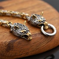 Link, Chain Norse Viking Wolf Head Bracelet Men Never Fade Stainless Steel Gold Square King Bangles Street Culture Accessories Jewelry