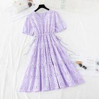 فساتين حزب أزياء الصيف اللباس المرأة بلون فستان الشمس عارضة قصيرة الأكمام القطن الكتان vestidos الإناث عالية الخصر رداء فام