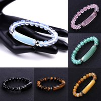 8MM Healing Stone Strand Bracelet Natural Gemstone Stretch Beads Bar Rectangle Chakra Crystal Energy Charm Bracelets Handmade Jewelry for Women