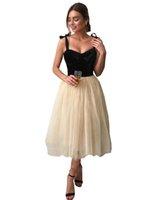 2022 Black Velvet Champagne Party Dresses Spaghetti V-neck Backless Prom Formal Dress Homecoming Special Occasion