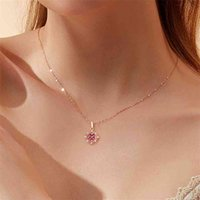 Vintage carving small Ruby gemstones red crystal pendant necklaces for women diamonds Rose gold color choker jewelry bijoux gift 210726