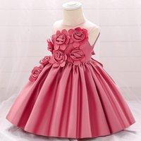 Girl's Dresses 2021 Baby Girls Dress Flowers Formal Evening Prom Gown Elegant Rose Flower L5068XZ