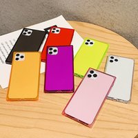 Fluorescent Square Clear Cell Phone Cases for iPhone 7 8 Plus XR XS 11 Pro Max 12 Mini 13 SE2 Sam S20 S21 FE A02S A22 5G Note 20 Ultra Huawei P40 Mate 40 Transparent Back Cover