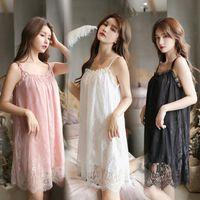 Lace Sexy Night Dress Ice Womens Sleepwears Silk Satin Nightgown Sleeping Dresses Shirts