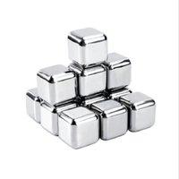 4 pz / set oro cubo oro ghiaccio congelato stampo set in acciaio inox in acciaio inox modello di metallo pinze da caffè bevanda whisky bar ghiaccio vino pietra forniture creative HHE3418CSA4