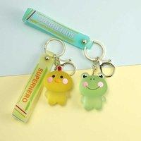 Cute Cartoon Blushing Animal Keychain Women Bunny Bear Chicken Frog Keys Accessories Lady Backpack Pendant Girl Birthday Keyring