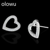 Stud Olowu Women Romantic Hearl Earrings Elegant Gold Silver Cubic Zirconia Crystal Valentine's Day Gift For Lover