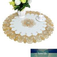 유럽 PVC 골드 도금 둥근 식탁보 방수 및 유압 70 cm 중공 커피 테이블 미끄럼 방지 패드 천
