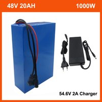 1000W 48 V 20Ah Bike Bicycle Bicycle Battery Pack 500W 2000W 13S 48 V 10Ah 15Ah 25Ah 30Ah Litio Ion 18650 Batterie Ebike con cassa in PVC 30A BMS 54.6 V 2A Caricabatterie