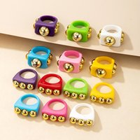 Cluster Rings Y2K Style Chunky Retro Resin Acrylic Plastic Kids Cute Colorful Candy Finger Ring Jewelry Transparent Handmade Trendy
