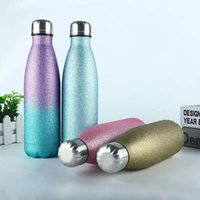 Stainless Steel Glitter Water Bottles 500ml Double Wall Insu...