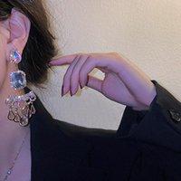 Dangle & Chandelier FYUAN Water Drop Crystal Earrings For Women Oversize Bohemian Style Weddings Party Jewelry Accessories