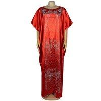 유럽 및 미국 아프리카 민족 스타일 무거운 산업 핫 다이아몬드 드레스 유형 가운 시뮬레이션 실크 아프리카 드레스 여성을위한