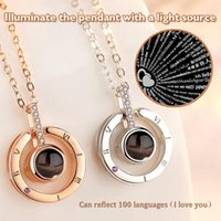 Chains Fashion Necklace Creative Projector In 100 Languages Pendant Charming Clavicle Chain S For Women Girls A66