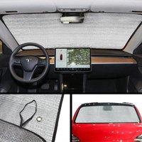 자동차 앞 유리 Tesla 모델 3 자동차 전면 창 태양 차단 액세서리 반사 햇 바이저 보호자 파라솔