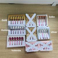 Dudaklar Makyaj Doğum Günü Koleksiyonu Mat Sıvı Ruj Dudak Parlatıcısı Kiti 4 adet 6 adet Altın Gümüş Sevgililer Koko Lipgloss Set