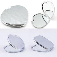 DIY Makeup-Spiegel Eisen 2 Gesichts-Sublimation leeres plattiertes Aluminium-Blech-Mädchen-Geschenk Kosmetik Kompakter Spiegel Tragbare Dekoration BWE7100