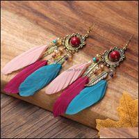 Chandelier Jewelrybohemian Beads Pendientes Pendientes para Mujeres Boho Joyería de moda Tassel étnico Pendiente de plumas Largo Pendiente de entrega 2021 MYR7