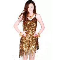 Sequins Tassel Latin Dance Dress Gold Black Purple Salsa Dresses Skirt Womens Dancewear Party Decoration