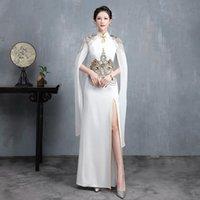 Robe blanche chinoise Qipao Fashion Cheongsam Plus Taille longue Qi Pao Vestine Moderne Vestial Broderie Orientale Afficher vêtements ethniques