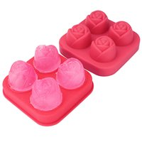 4 Grids Ice Cube Form Silicone Rose Shape Ice Cream Mold Freezer Ball Maker Reusable Whiskey Cocktail Mould Bar Tools