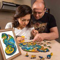 DIY головоломки животных для детей взрослых детей подарок для детей единорог дракон в форме 3d деревянные головоломки деревянные ремесла дома украшения
