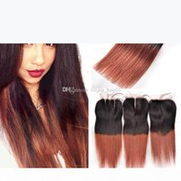 Two Tone 1b 33 Dark Auburn Straight Hair Bundles With Lace Closure Middle Free Three Part Top Closure With Silk Straight Hair Weft