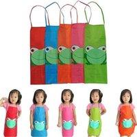 لطيف أطفال الأطفال للماء المئزر الكرتون الضفدع المطبوعة فتاة بوي جميل اللوحة الطبخ 5 اللون المتاحة