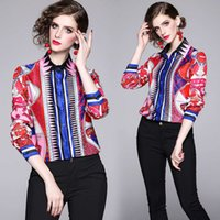 Luxury Elegant Red Print Blouses Plus Size Women Spring Autumn Winter Vintage Button Front Shirt Long Sleeve Ladies Runway Tops