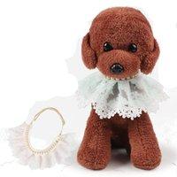Collares 2 estilos Lujo al por mayor Productos para mascotas Suministros de perros Charm Dog Collar de encaje Rhinestone Collar Cat Accesorio ZWL202