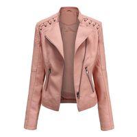 Plus size jaqueta mulheres clássico pude pular casaco curto motociclista sólido primavera outono para senhoras jaquetas femininas femininas