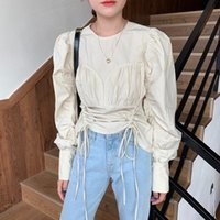 Coreano Blusas Cordão Plissado Cintura Slim Camisa Puff Longa Manga Longa 2021 Outono Mulheres Tops Moda Sólida Blusas 6B564 Mulheres Blusa Feminina