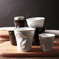 Mugs High Quality Ceramic Brief Porcelain Coffee Black MaWhite European Style Breakfast Milk Tea Cup Origami Cups Drinkware