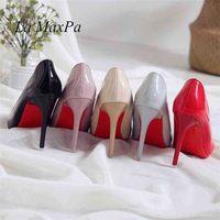 여성 섹시한 펌프 신발 10cm 누드 블랙 뾰족한 발가락 하이힐 10cm 파티 Prom 특허 가죽 뾰족한 210610