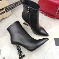 Moda Womens High High Heel bota letra de couro real desenhador de couro sapato outono inverno curto botas martin sapatos tamanho35-41wither